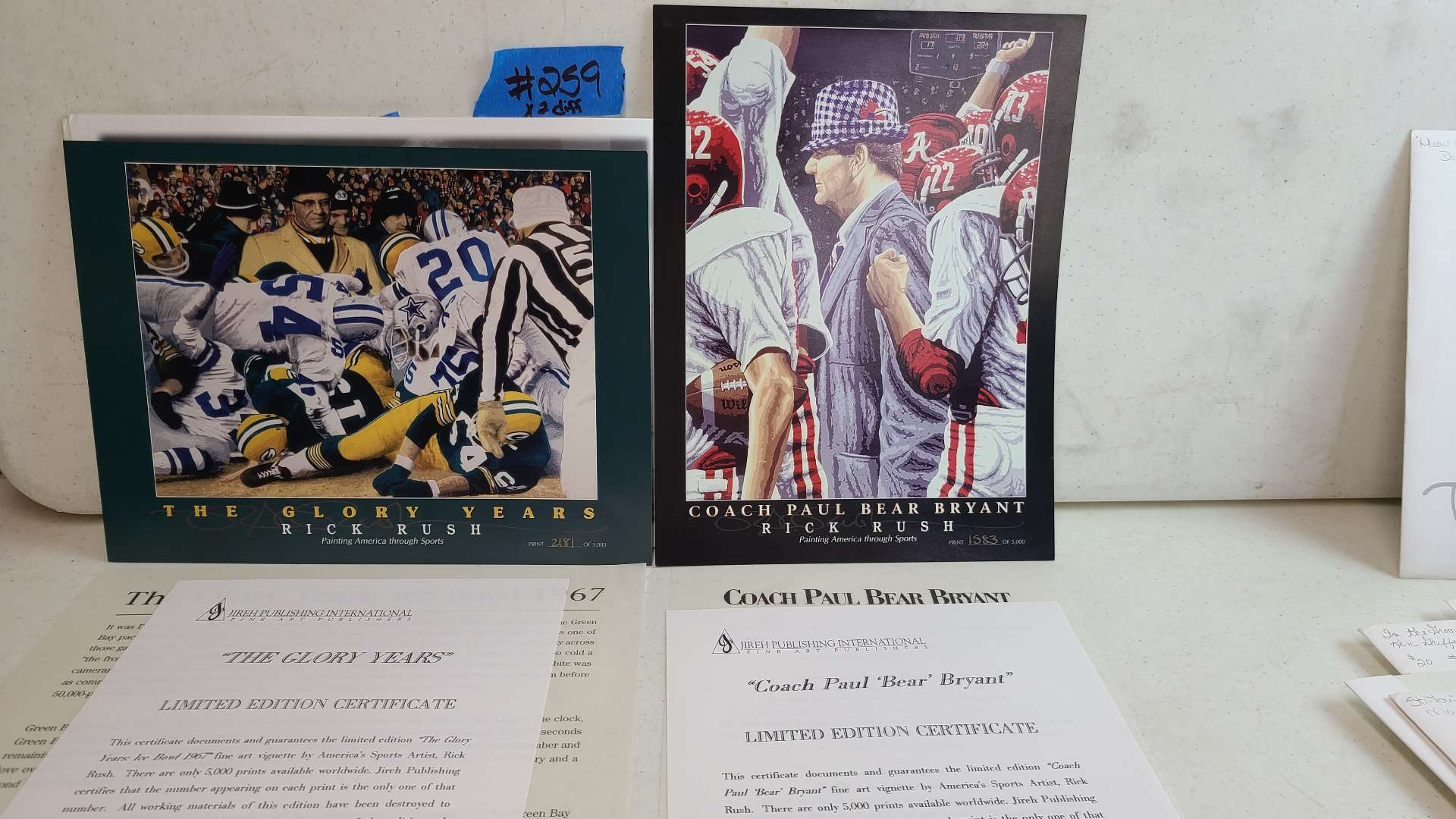 """Lot # 259 """"Coach Paul """"Bear"""" Bryant"""" and """"The Glory Years"""" By Rick Rush Limited Edition Signed & Numbered Print"""