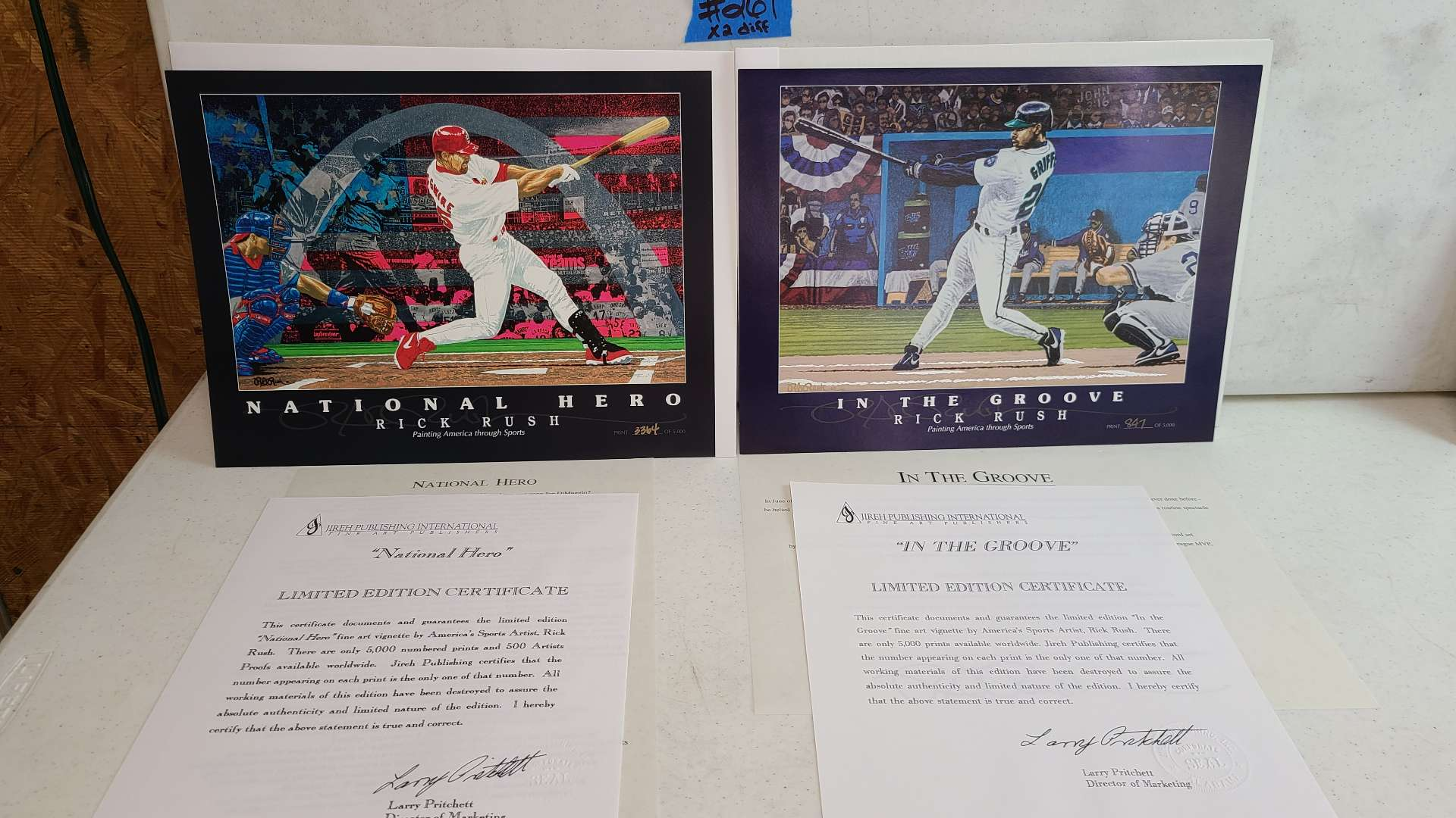 """Lot #261 """"In the Groove"""" and """"National Hero"""" By Rick Rush Limited Edition Signed & Numbered Print"""