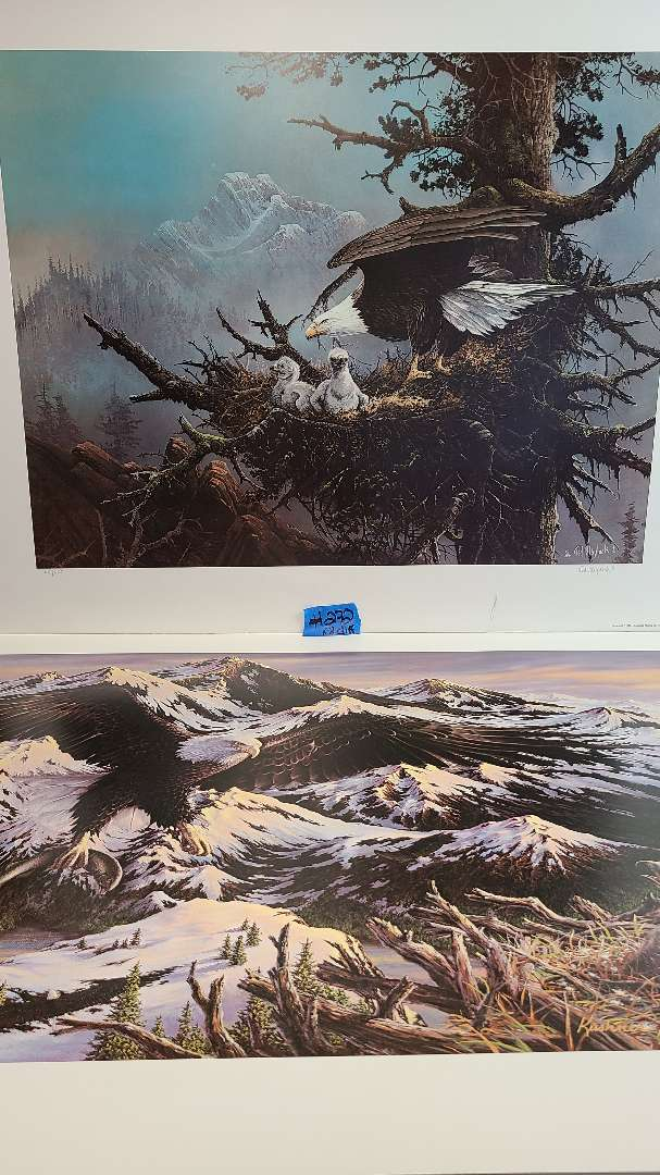 Lot # 272 Lot of 2 American Bald Eagle Inspired Signed & Numbered Lithographs