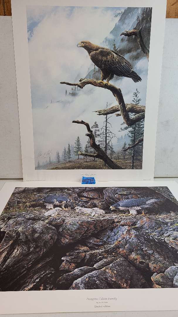 Lot # 273 Lot of 2 Falcon/Hawk Inspired Signed & Numbered Lithographs