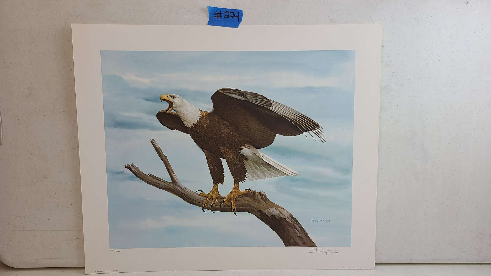 Lot # 274 American Bald Eagle Signed & Numbered Lithograph