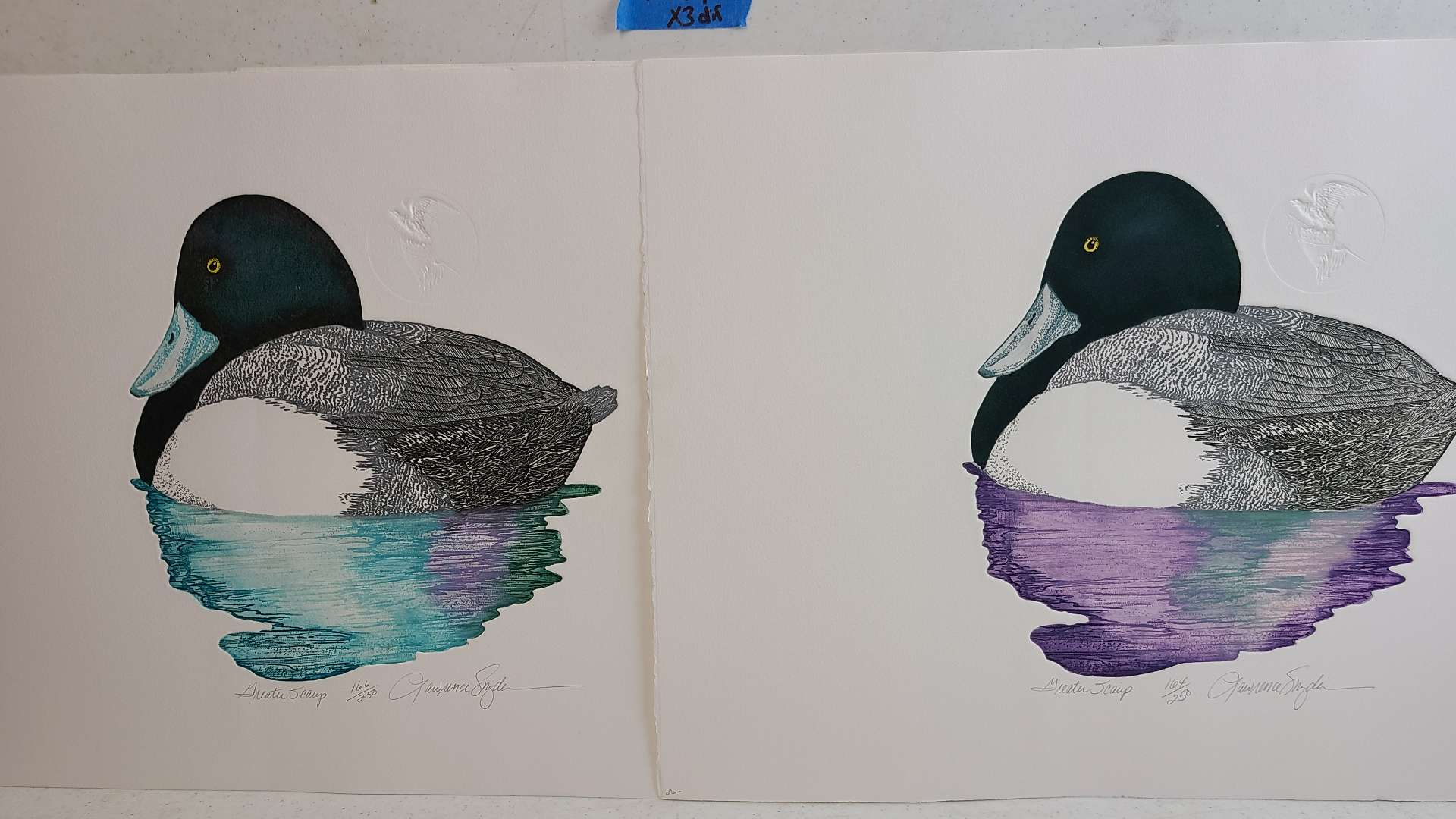 Lot # 290 Lot of 2 Duck Inspired Signed & Numbered Lithographs