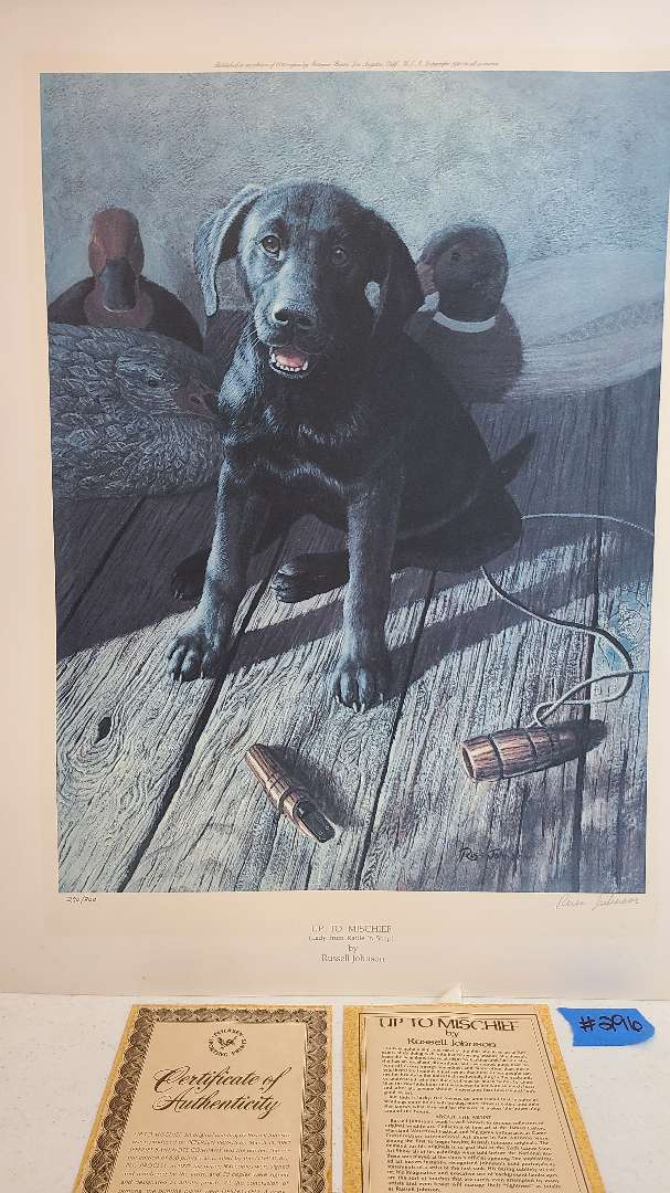 """Lot # 296 """"Up to Mischief"""" By Russell Johnson Signed & Numbered Lithograph W/ CoA"""