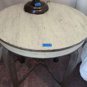 Auction Thumbnail for: Lot # 78 Beautiful Round Rustic Stle Side Table by Galls Accents