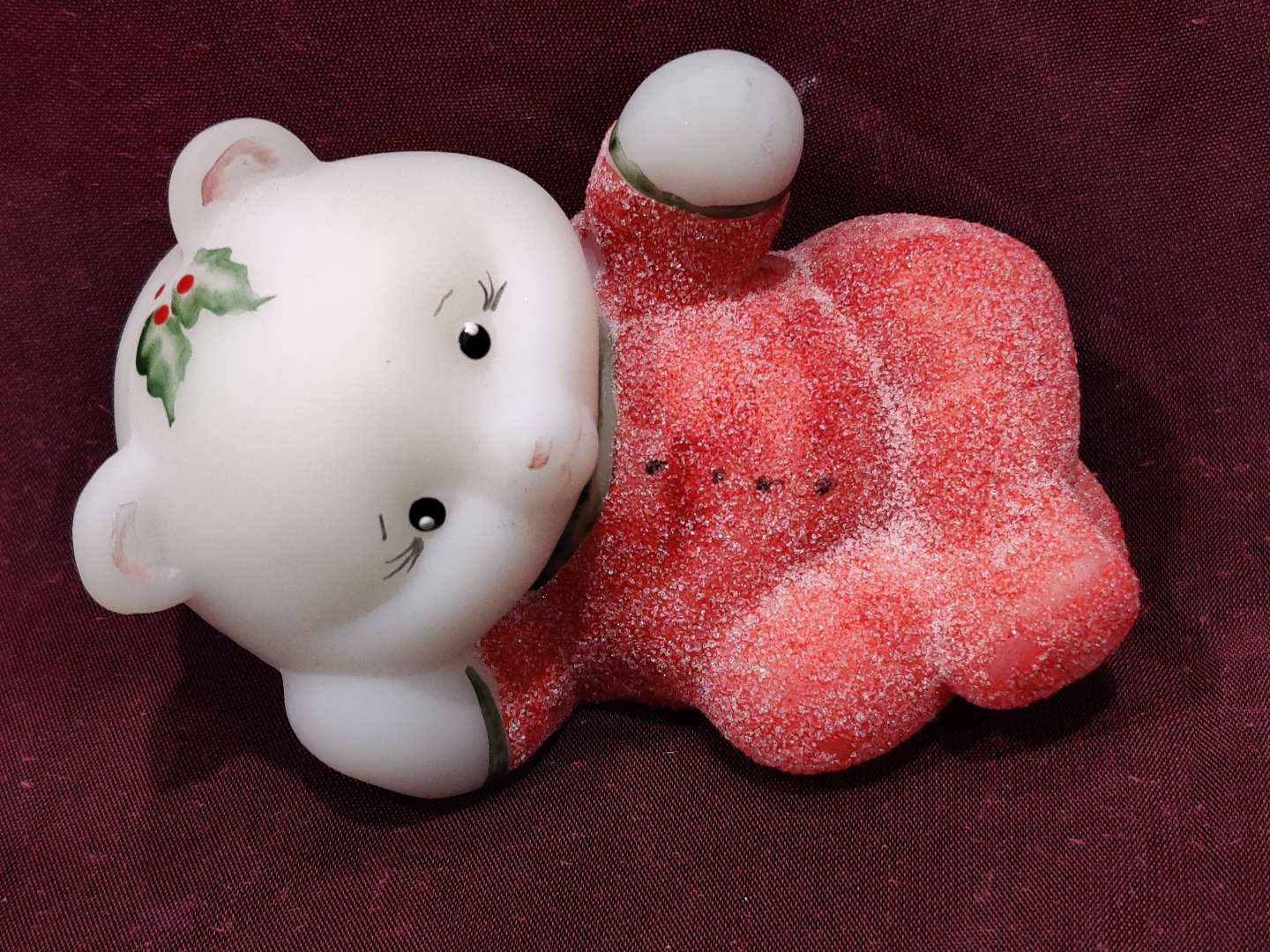 """# 7 Fenton Christmas cat 4"""" long is along excellent condition"""