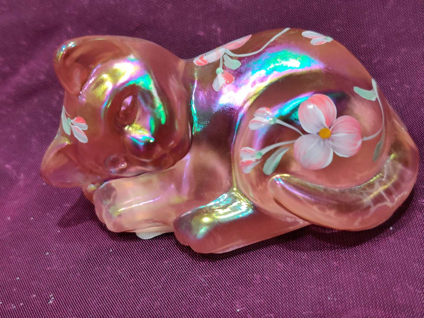 # 9 Fenton art glass peach colored cat 3 in long and great condition