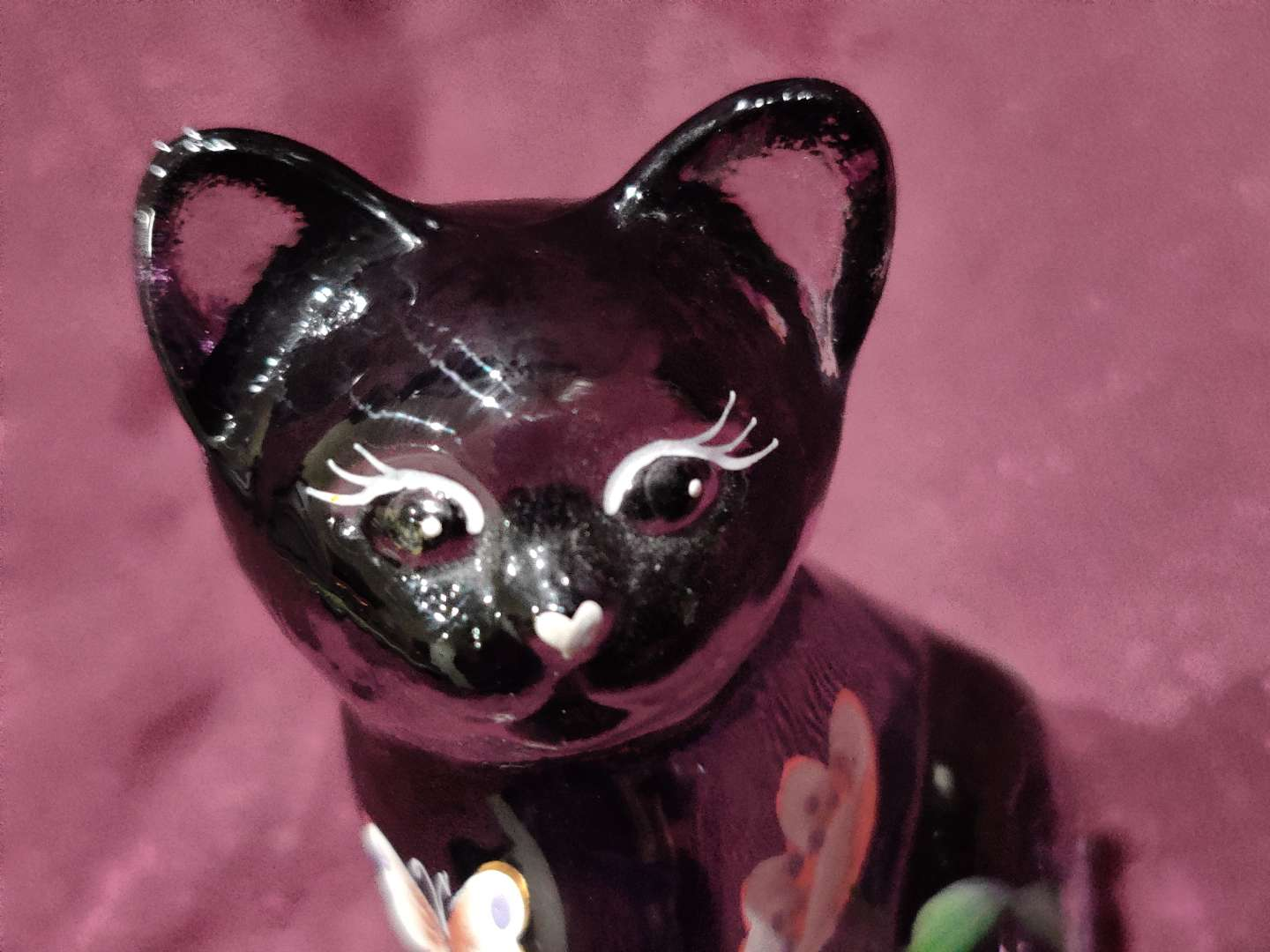 # 10 Fenton hand-painted amethyst cat 3 in tall excellent condition