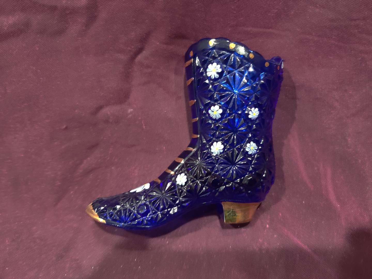 # 24 Fenton art glass tall blue boot hand-painted 4 in tall signed Dale Fenton
