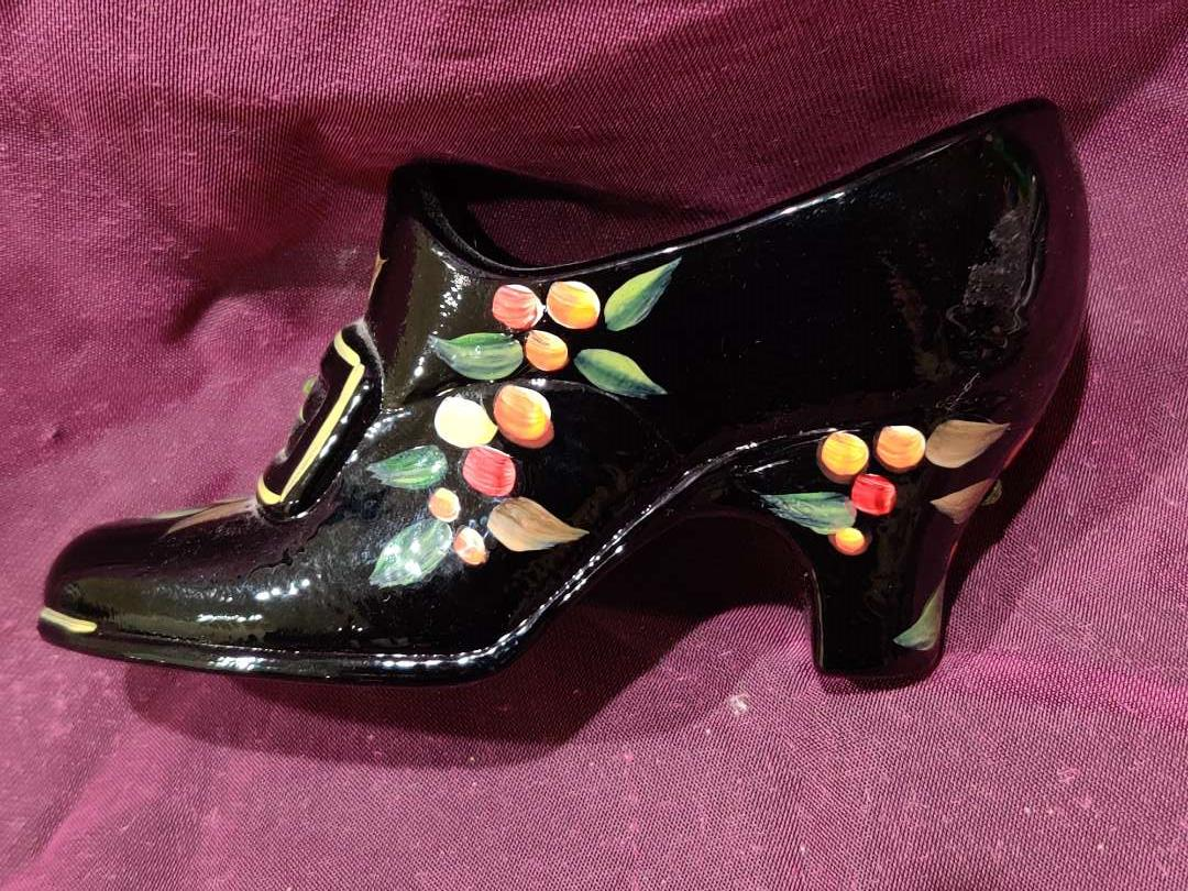 # 28 Fenton art glass shoe black hand-painted 4 1/2 inches long excellent condition