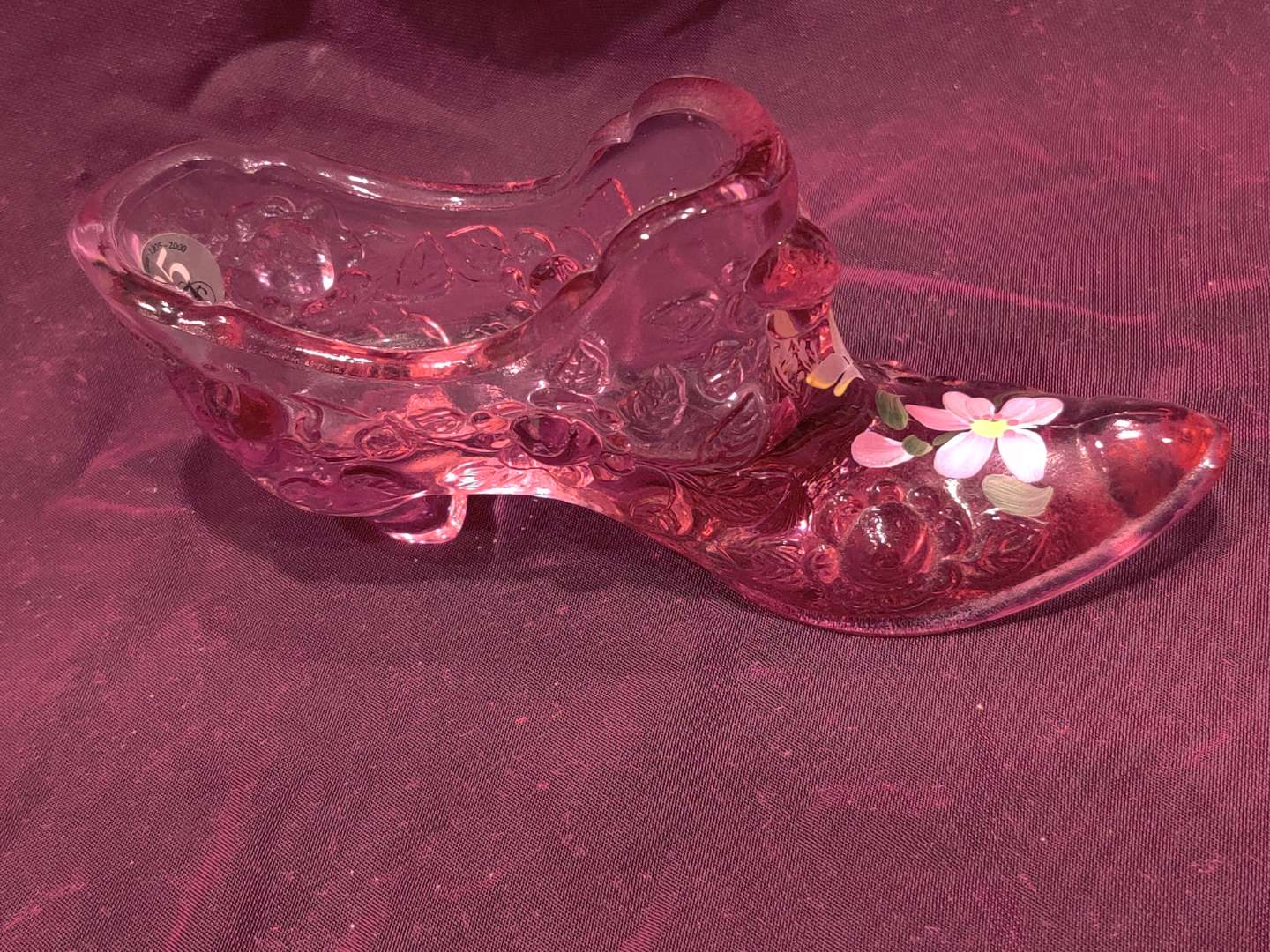 # 29 Fenton hand-painted pink shoe 6 in Long excellent condition