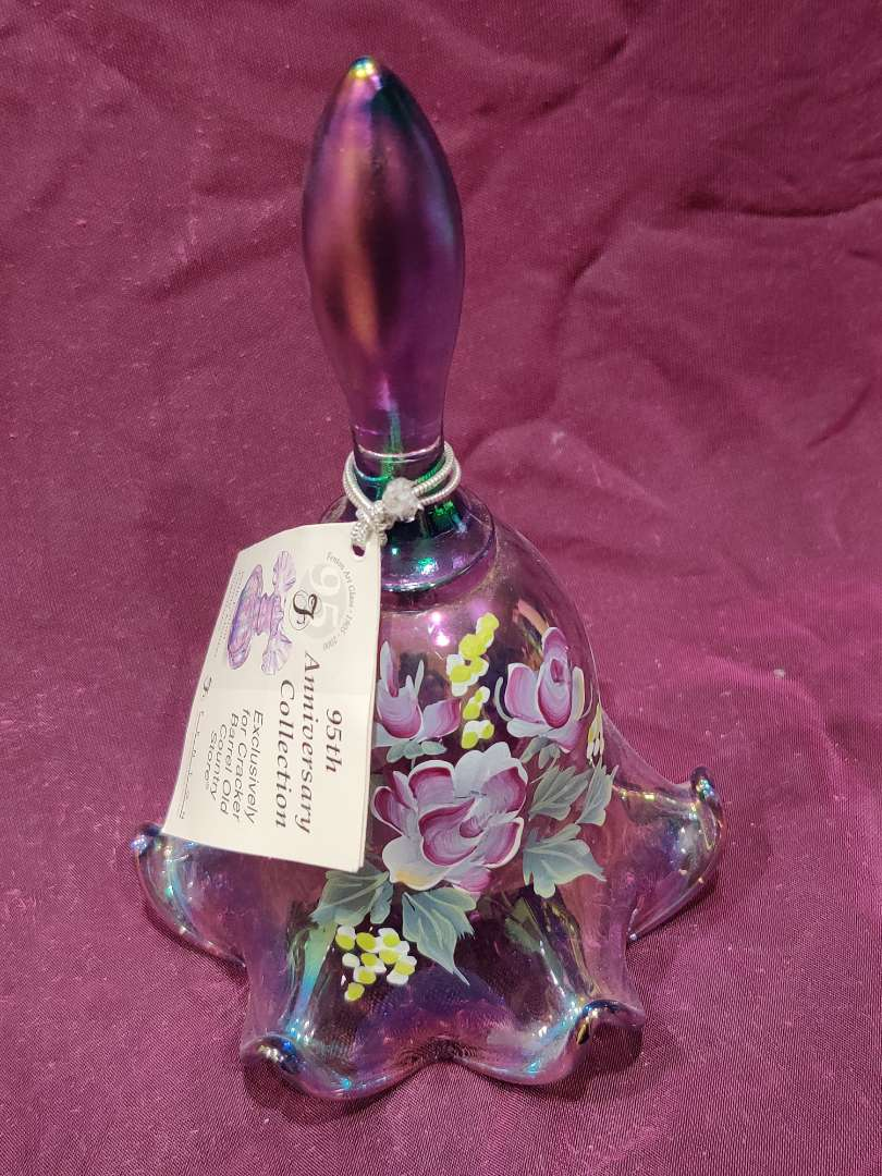 # 34 Fenton hand-painted signed Don Fenton amethyst Bell beautiful seven inches tall excellent condition