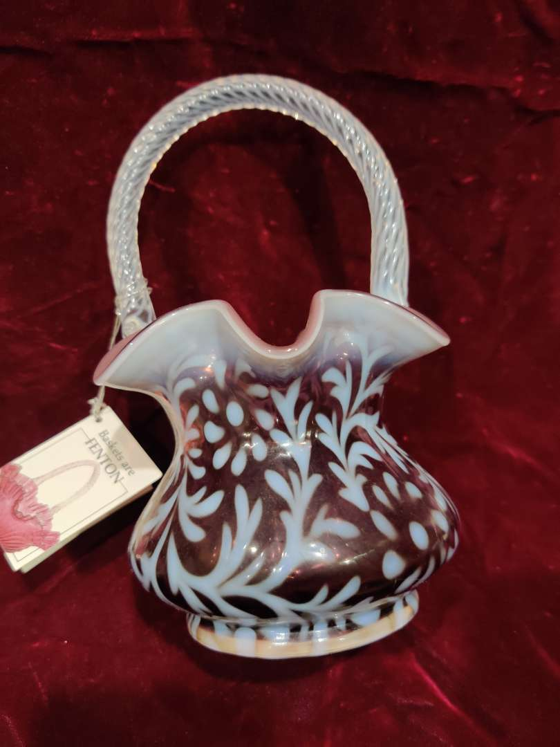 # 42 Fenton cranberry Daisy and fern basket opalescent 8 in tall excellent condition