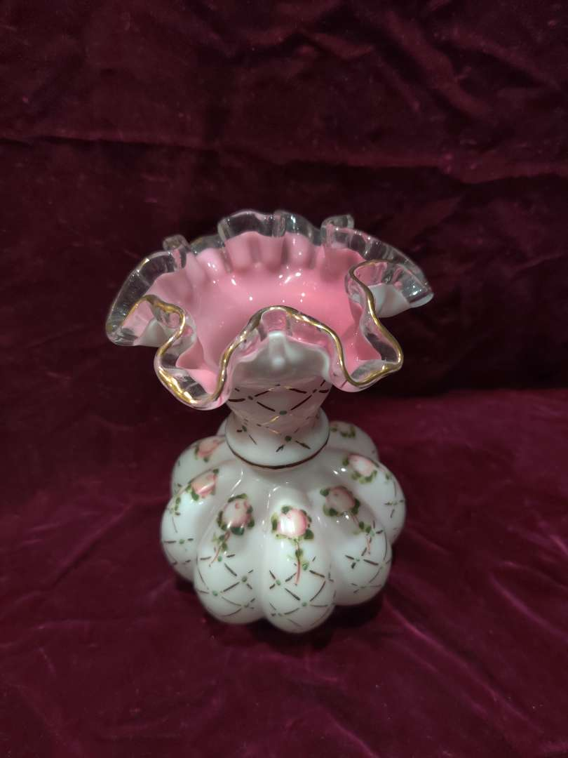 # 48 Fenton Victorian era hand painted vase pink and white 6 1/2 inch tall excellent condition