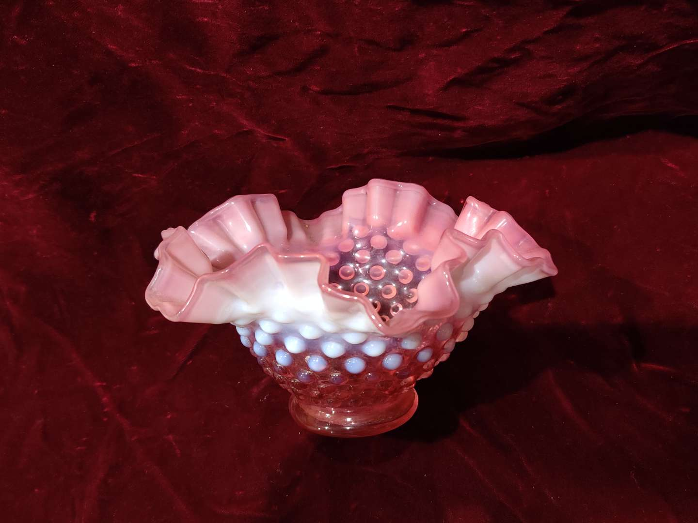 # 50 Fenton ruffled edge cranberry hobnail opalescent bowl 7 in wide in excellent condition
