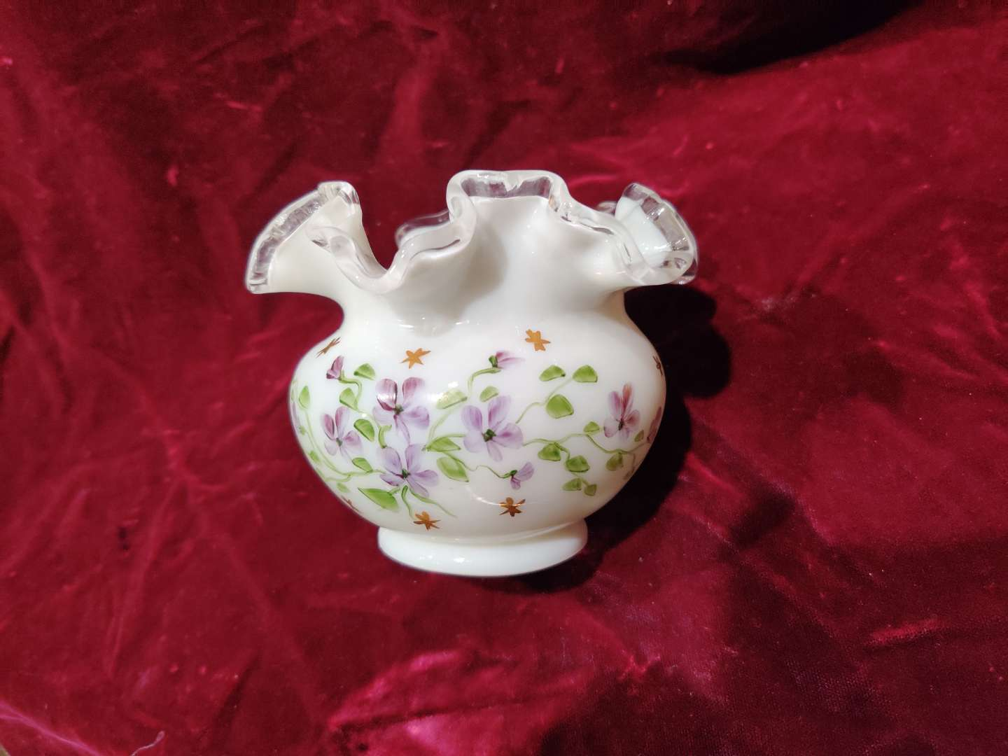 """# 53 Fenton hand painted Rose bowl 4"""" tall in great condition"""