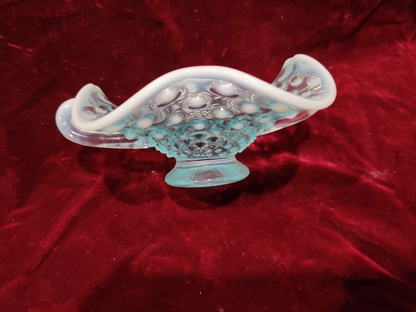 # 54 Fenton hobnail aqua opalescent nappy 2 handle dish 6 in tall and excellent condition