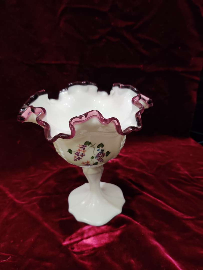 # 57 Fenton amethyst crest hand-painted compote 6 1/2 in tall in excellent condition