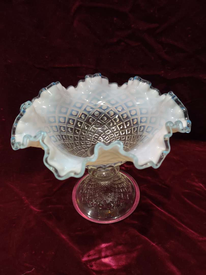# 58 early Fenton large aqua Crest compote diamond quilt 8 in wide excellent condition
