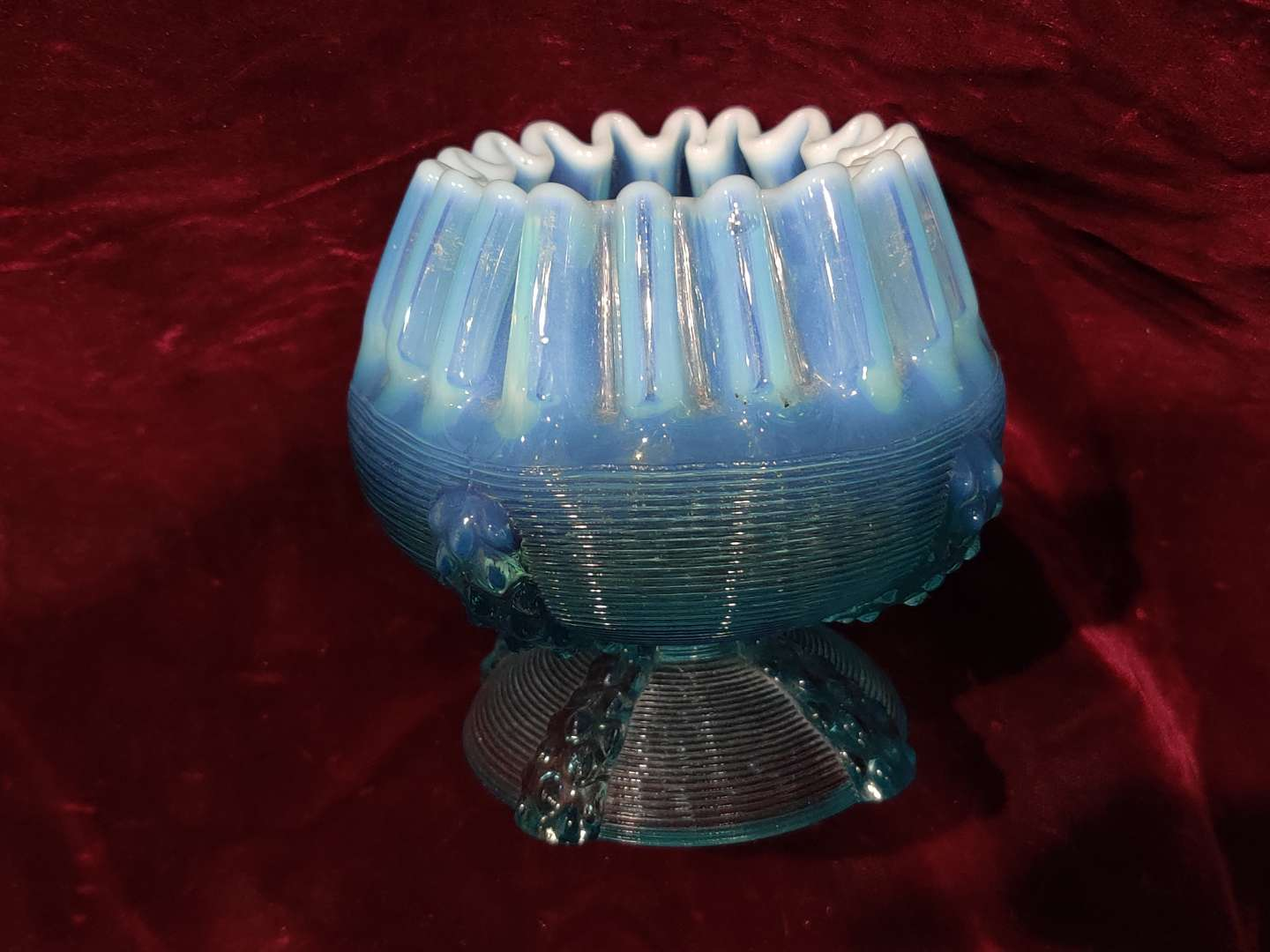 # 60 early Fenton style blue opalescent unusual bowl or 1/2-in tall excellent condition