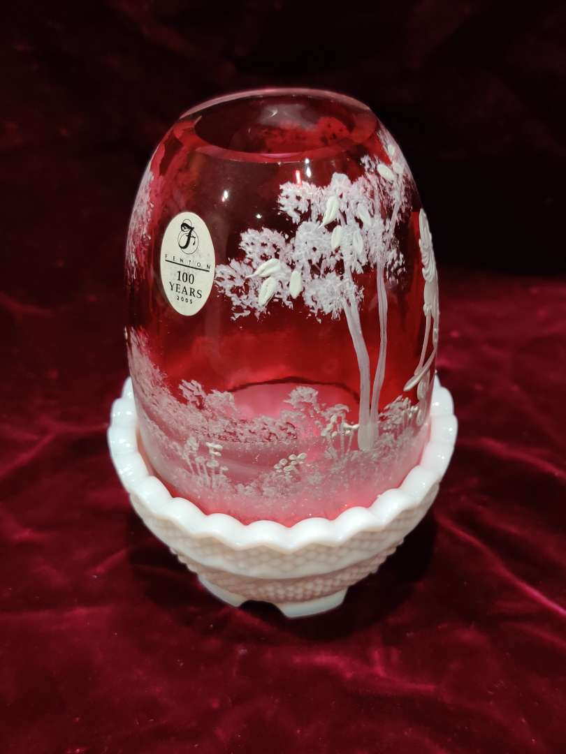 # 61 Fenton Mary Gregory style hurricane lamp cranberry top white bottom great condition