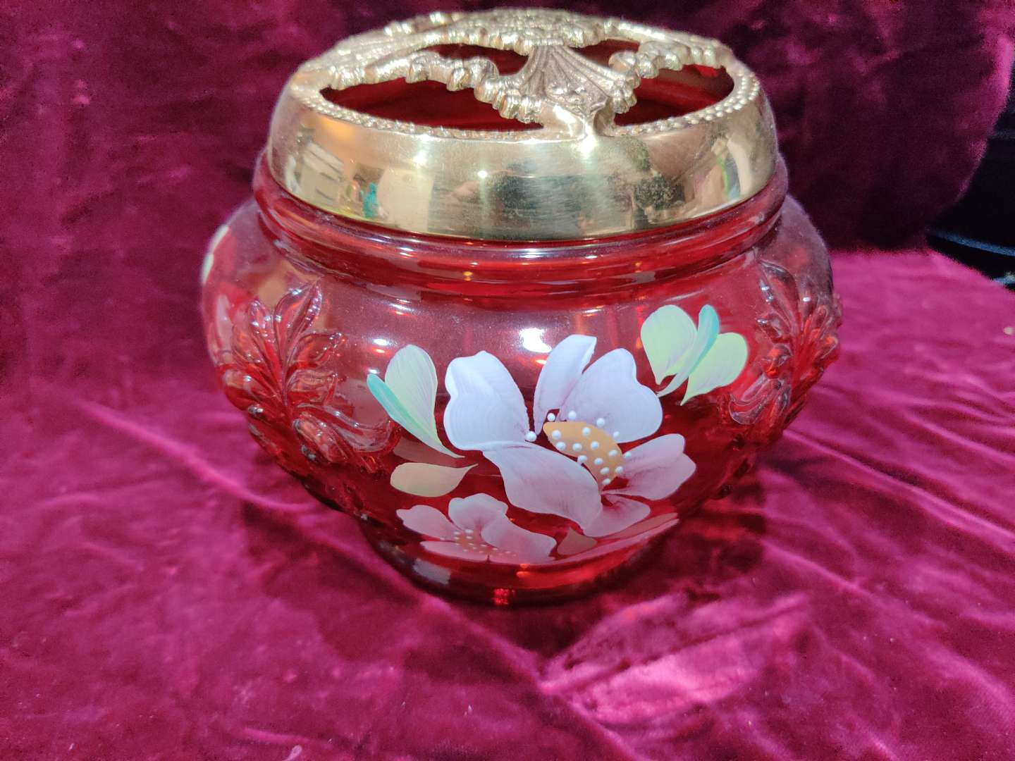 # 62 red Fenton hand-painted flower arrangement bowl with metal top 6 in tall 7 in wide and great condition
