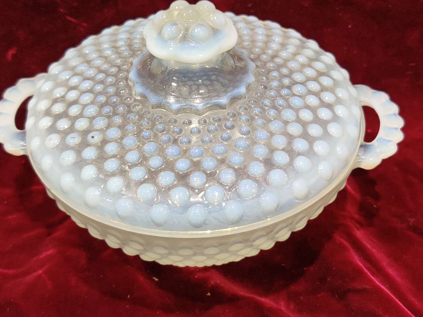 # 65 Fenton hobnail opalescent covered bowl dish two handles 7.5 in wide good condition