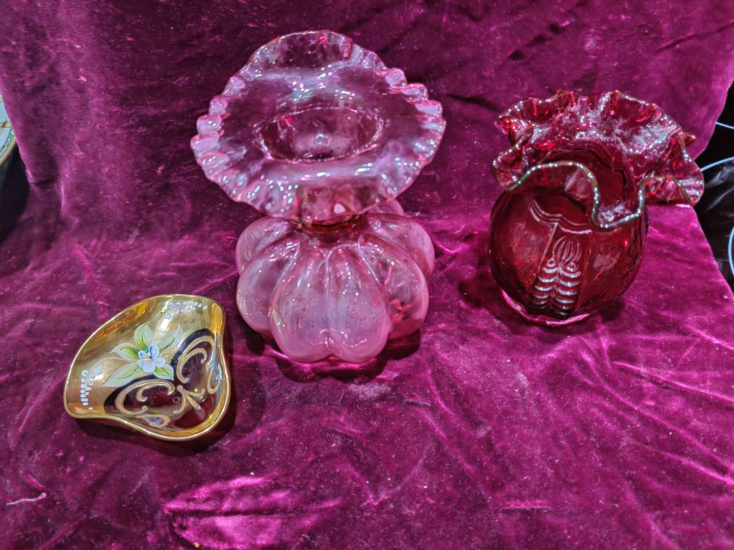 # 72 three pieces of glass Ruby cranberry and red hand painted moser style small dish
