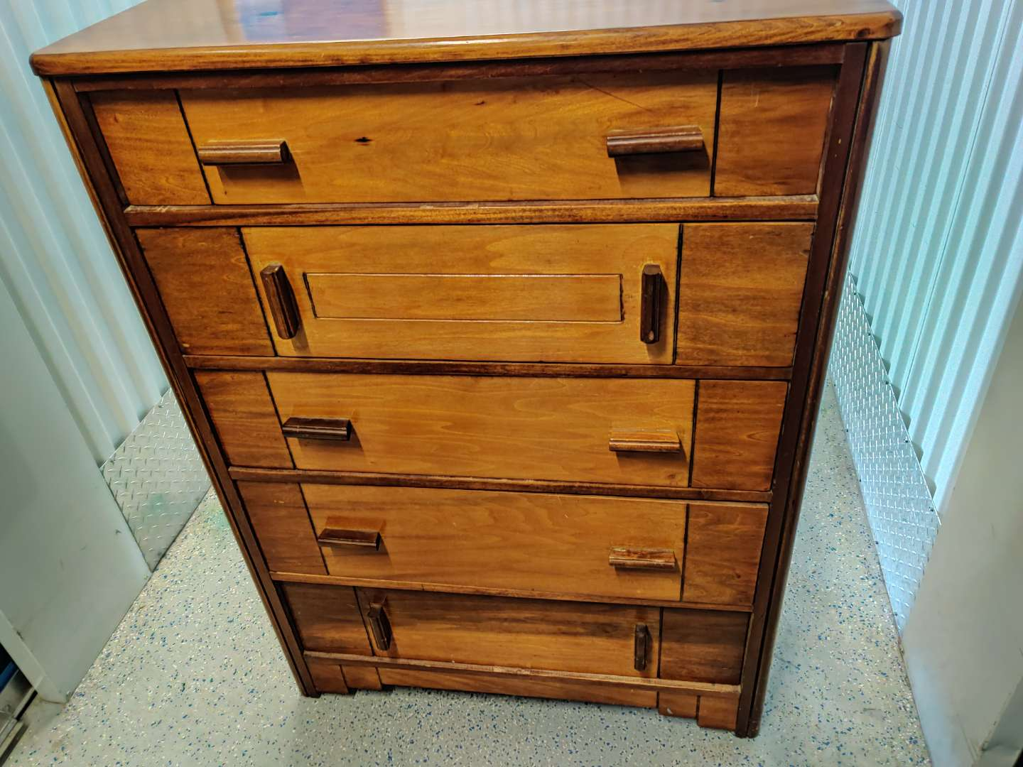 # 91 antique art Deco chest of drawers five drawers 45.5 in tall 33 in wide