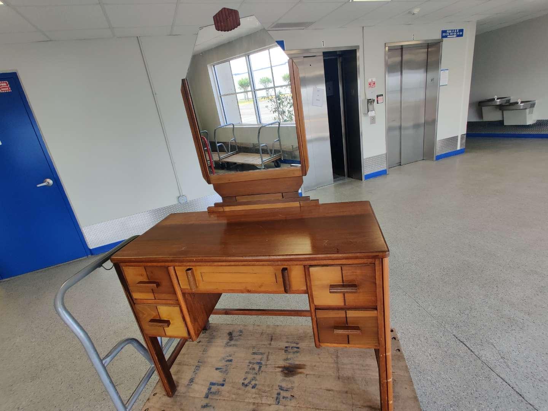 # 93 antique art Deco vanity and mirror 40 in wide good condition