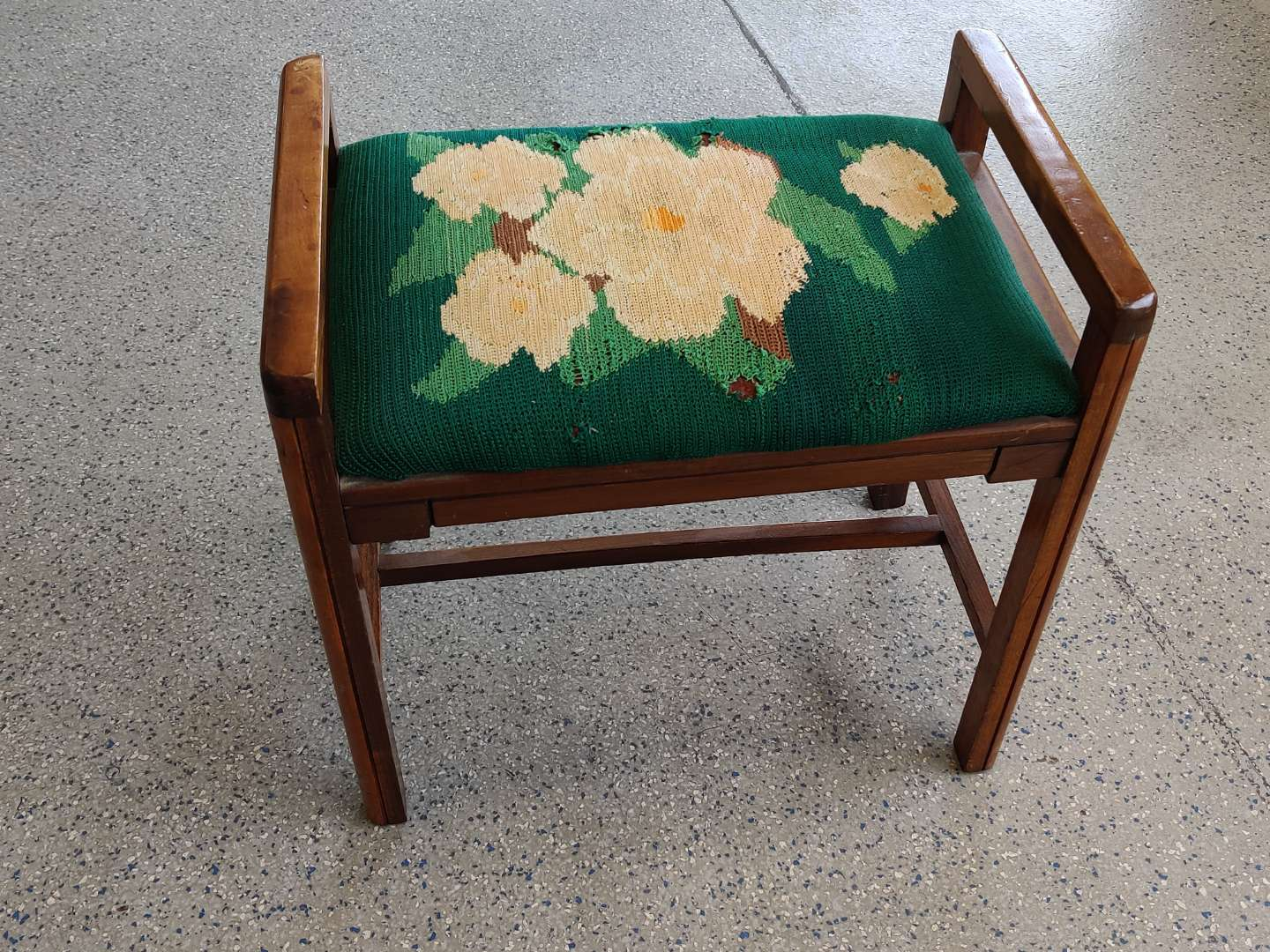 # 94 art Deco vanity stool 22 inches wide some tears and upholstery need to be reupholstered