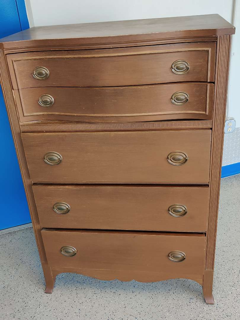 # 98 very nice mahogany 5 drawer chest with a star Makers Mark 34 in wide 51 in tall