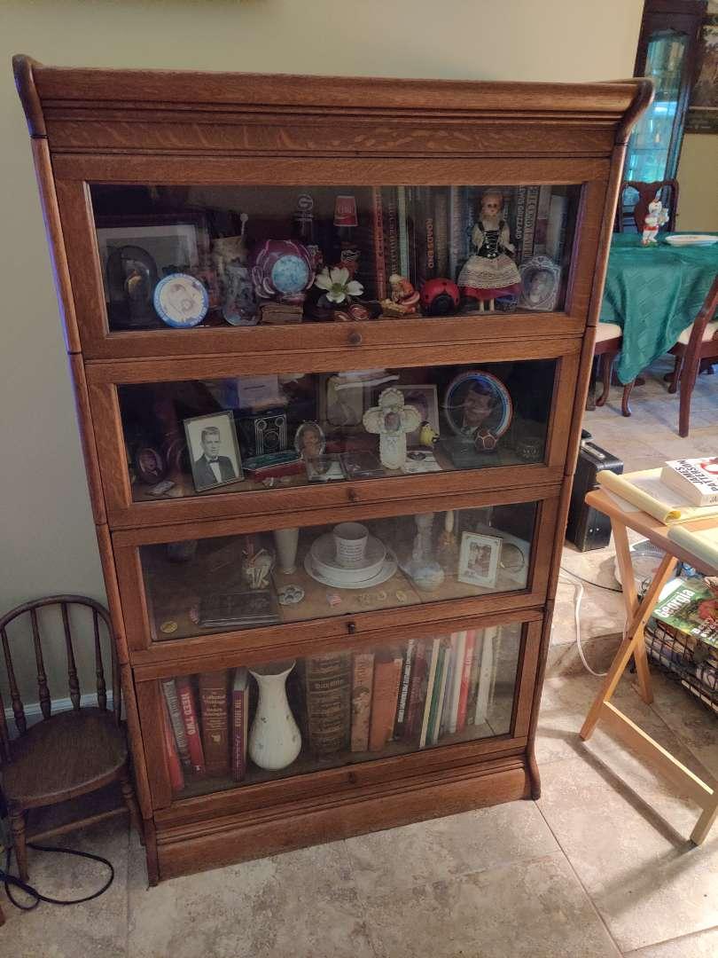 # 100 antique QUARTERSAWN TIGER OAK 4 STACK BARRISTER LAWYER'S STACKING BOOKCASE