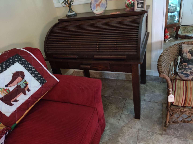 # 103 antique large oak roll top desk