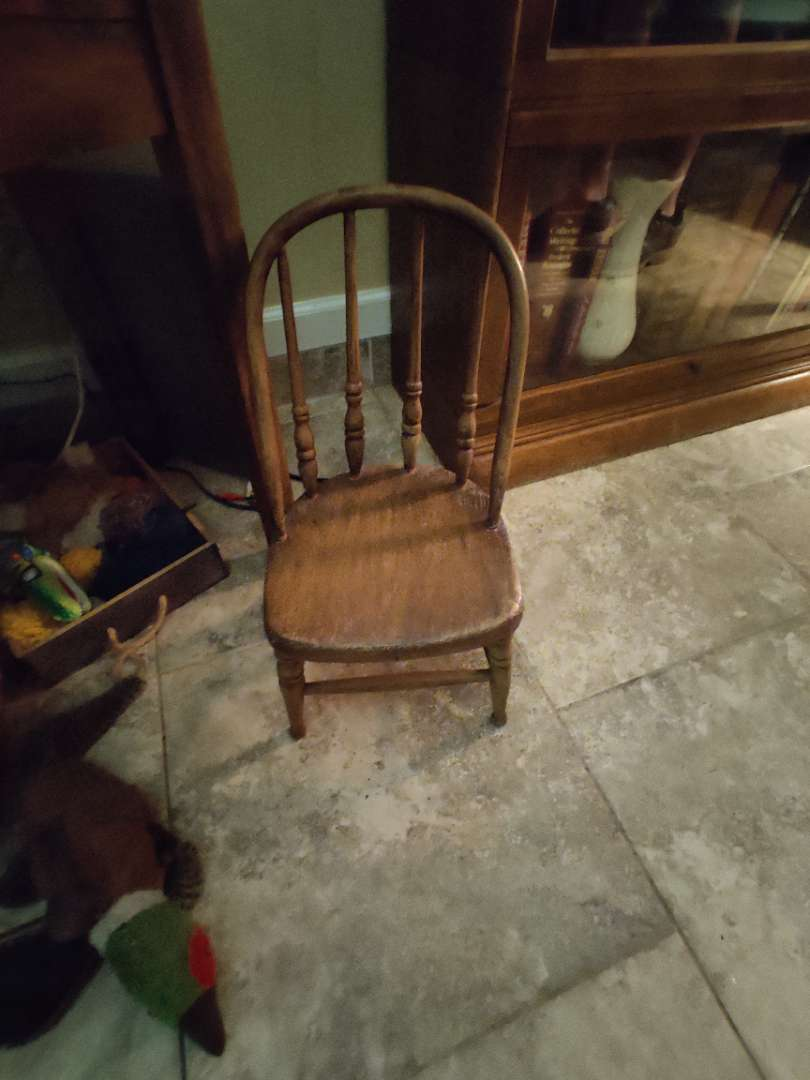 # 107 small oak doll chair antique 1875 19-in tall dated on the bottom