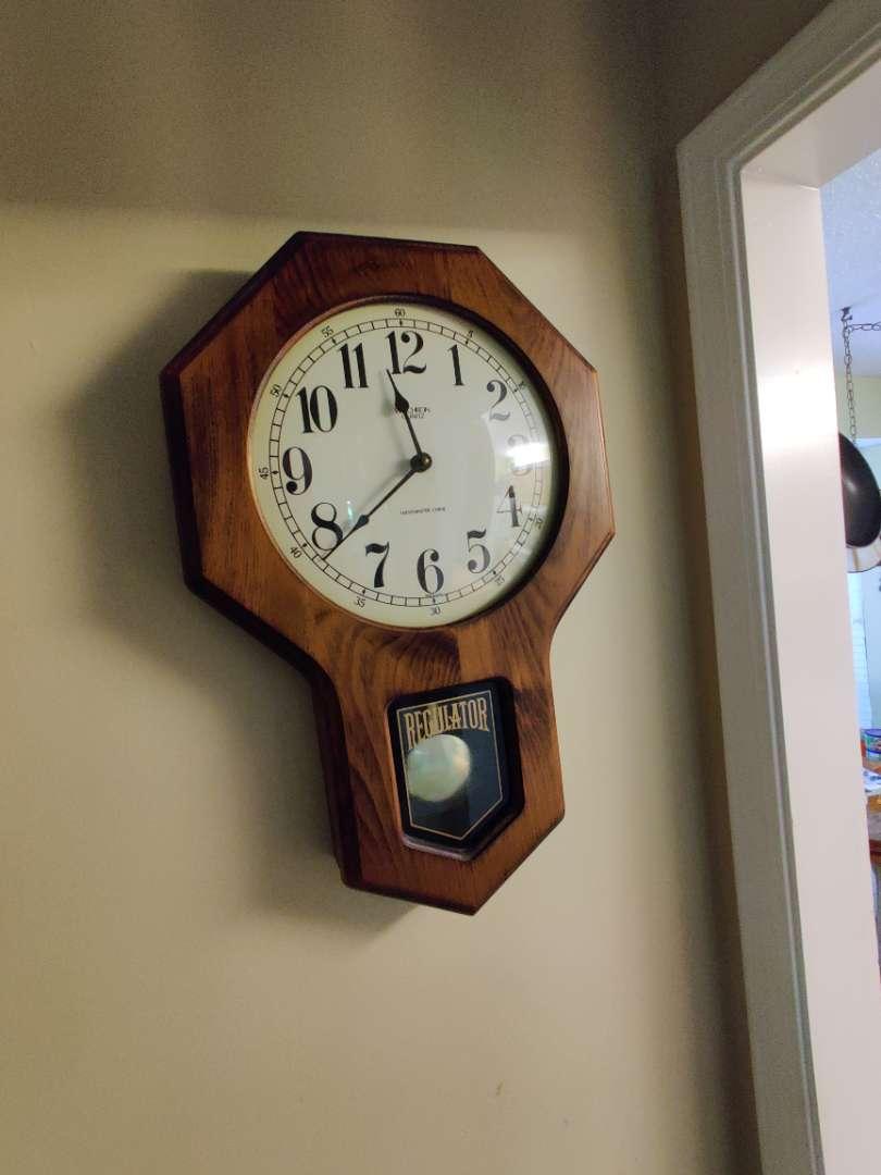 # 108 quartz regulator style wall clock oak works made in the USA