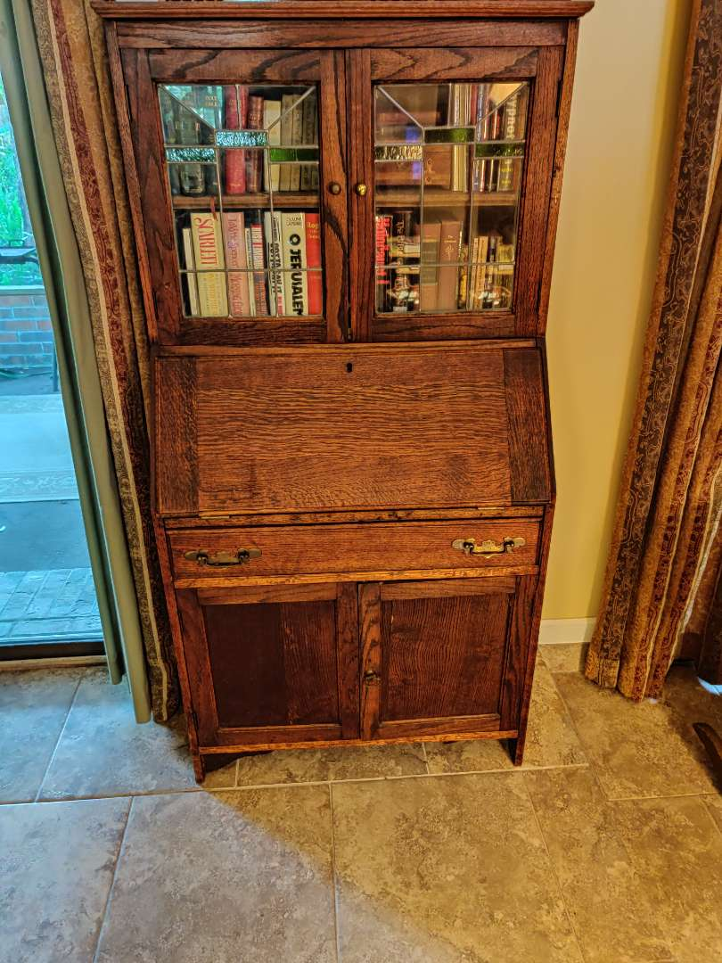 # 111 Outstanding antique oak secretary drop front desk with stained leaded glass hand dovetailed 60.5 in x 30 inches wide