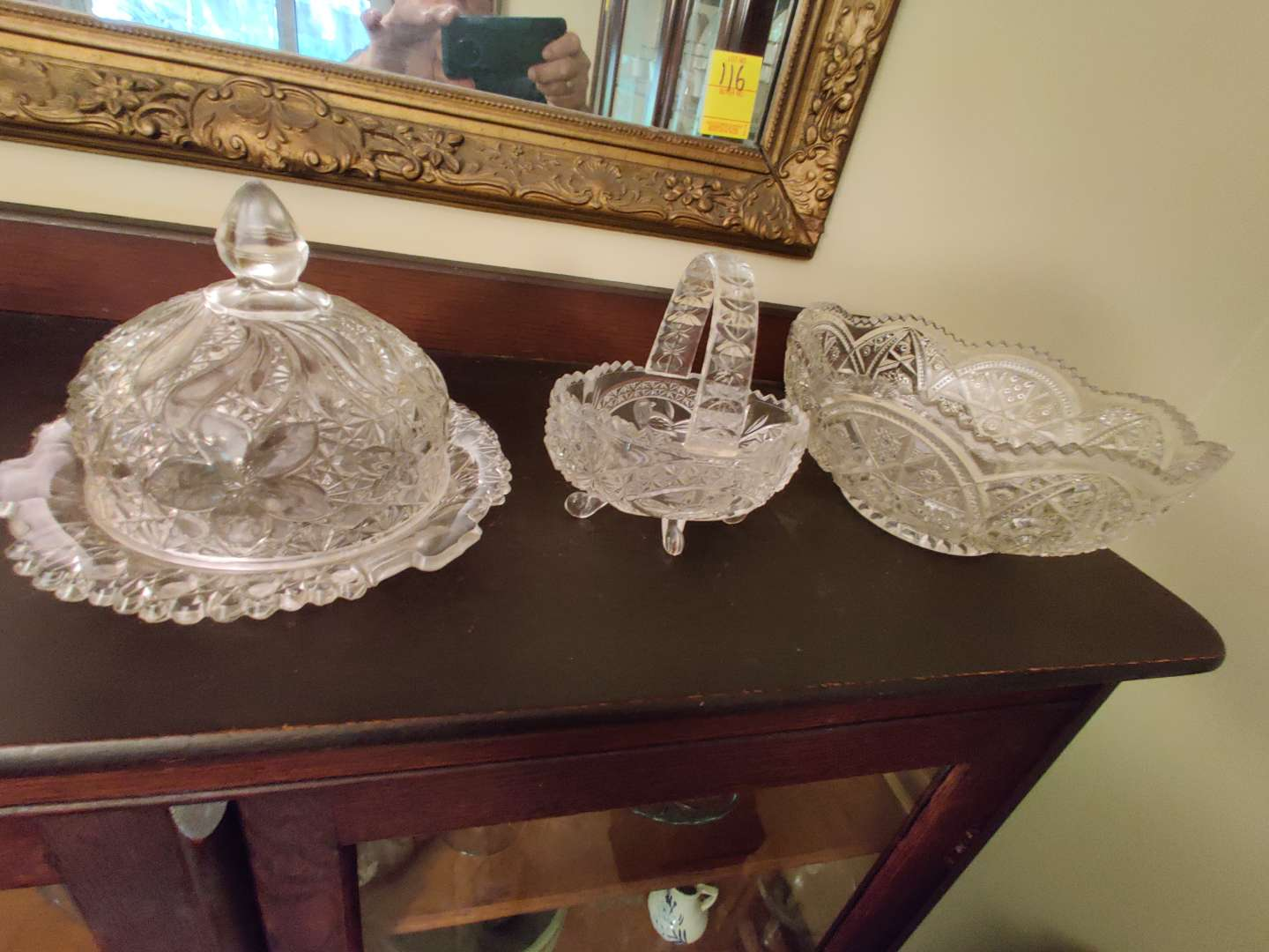 # 121 three pieces butter dish basket bowl Crystal