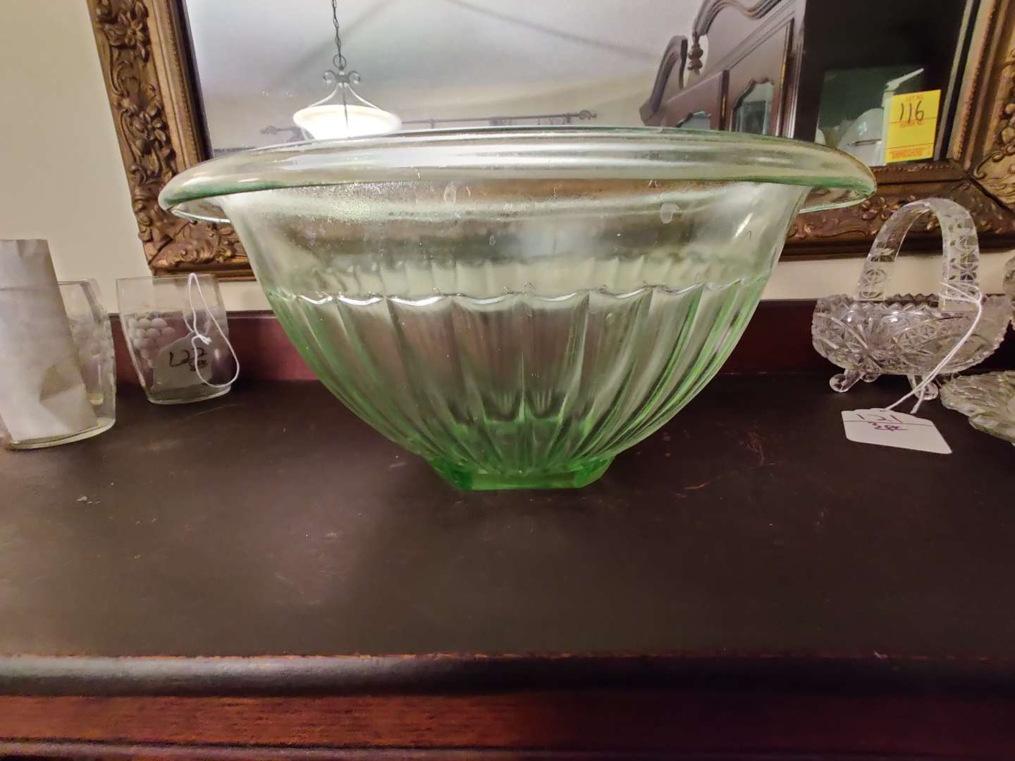 # 123 large green depression vaseline glass 11-in bowl great condition