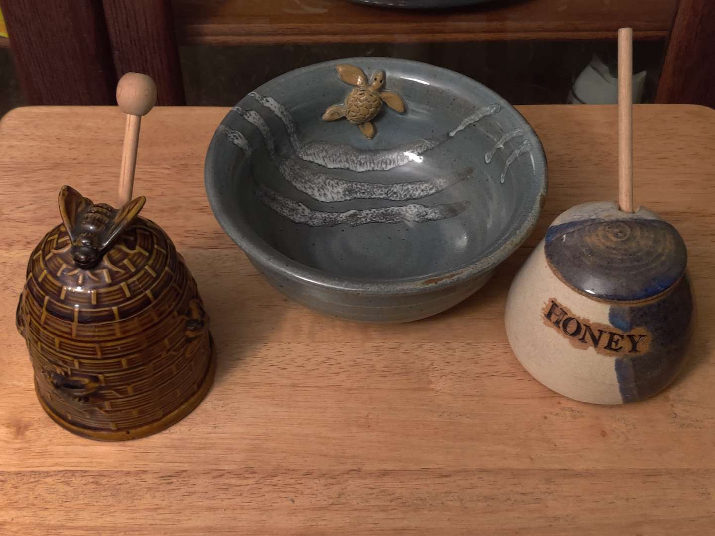 # 128 lot of three pieces pottery bowl signed and two honey pots one signed