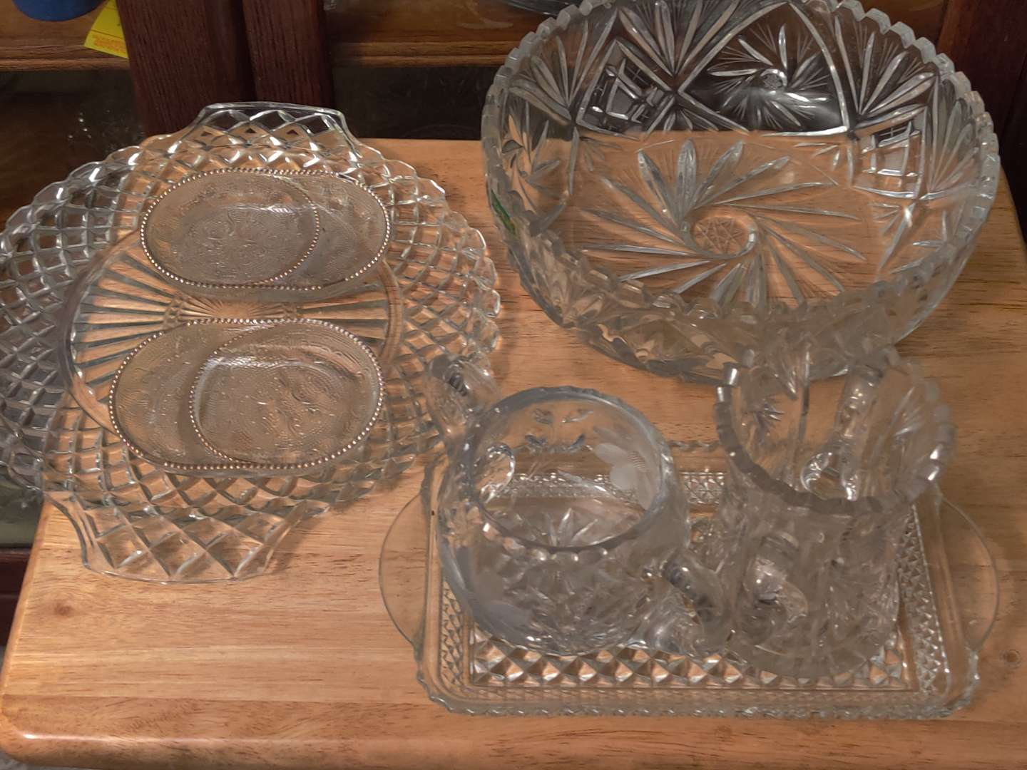 # 131 lot of seven pieces of crystal glass Sandwich Glass and more