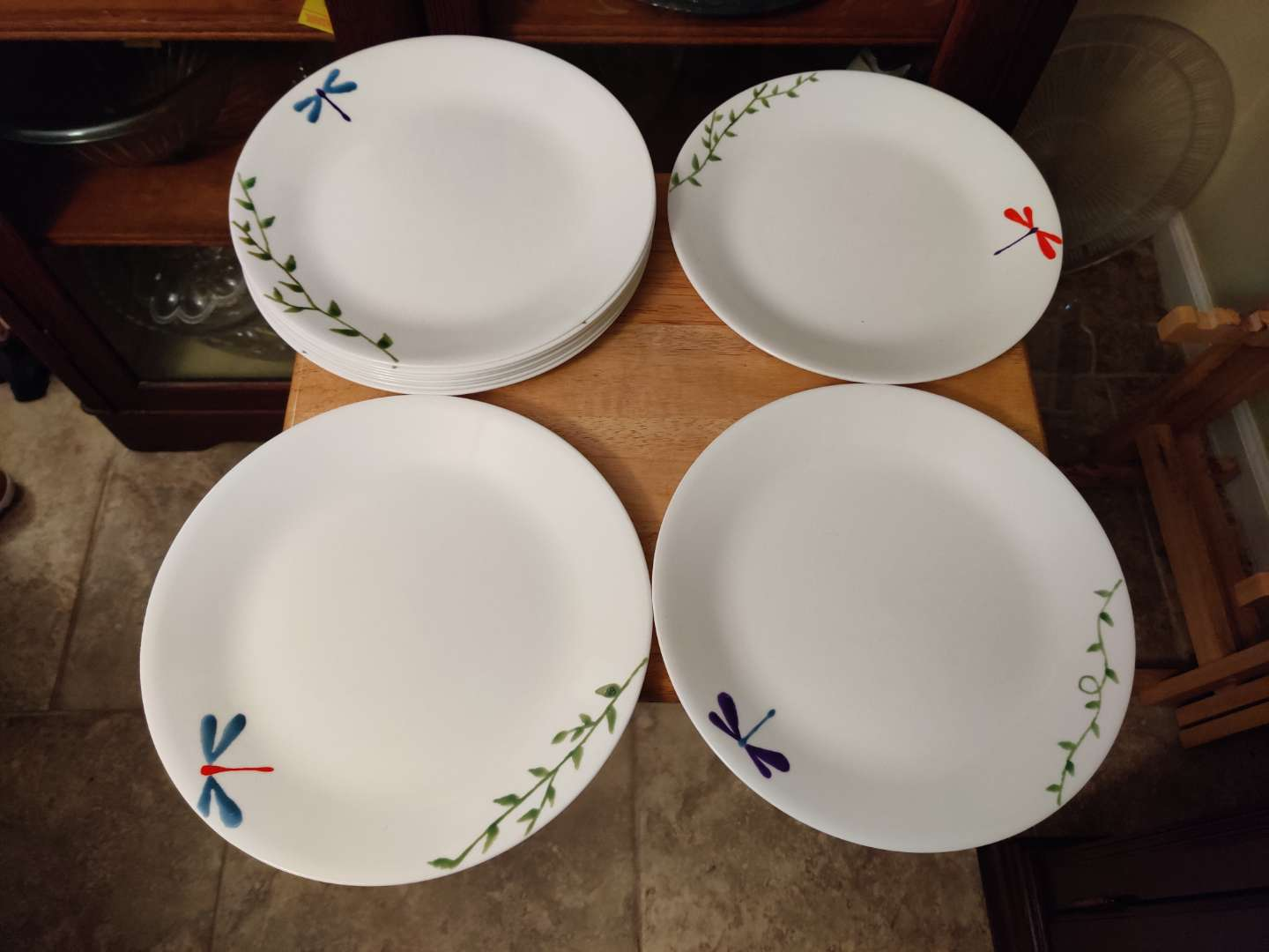 # 133 set of 11 corelle hand-painted dragonfly plates different colors