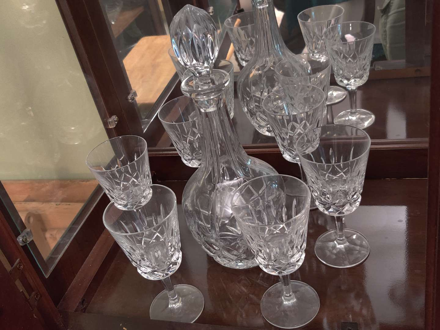 # 136 Gorham crystal decanter and six glasses great condition