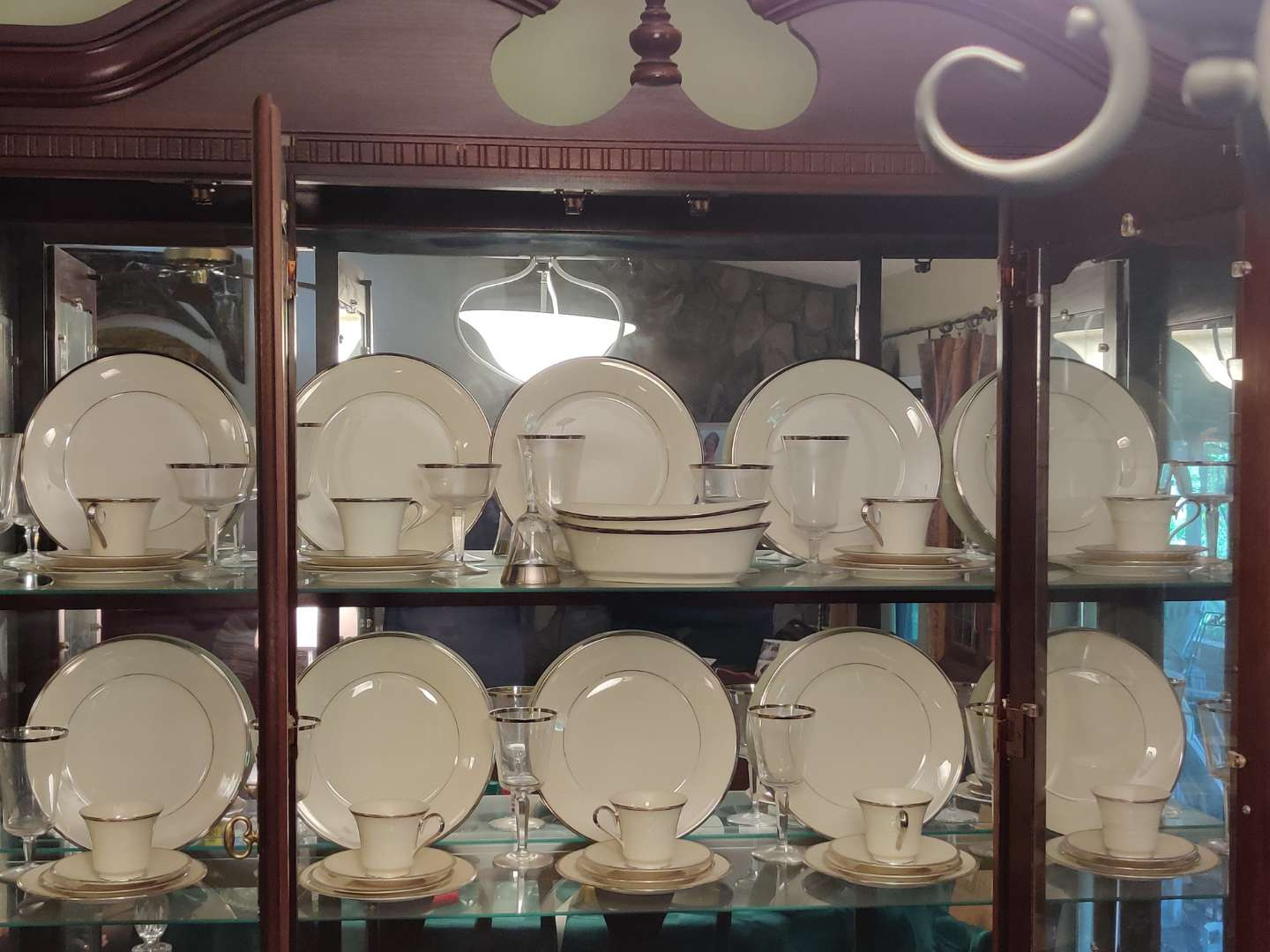 # 138 set of Lenox solitaire pattern China 60 pieces excellent condition does not look like it was used much if any
