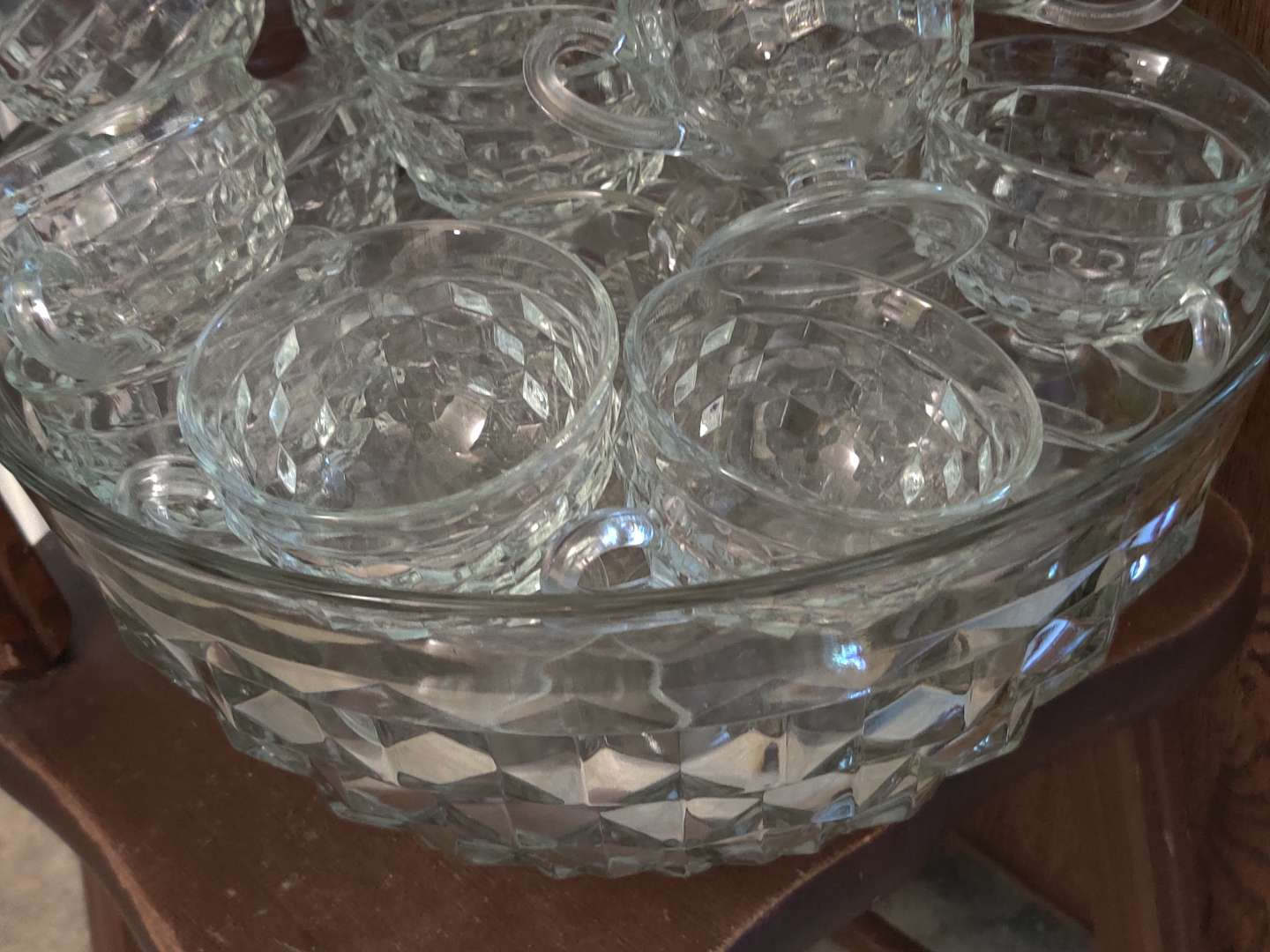 # 141 American fostoria punch bowl set punch bowl and 24 cups 12 of them are fostoria 12 or not