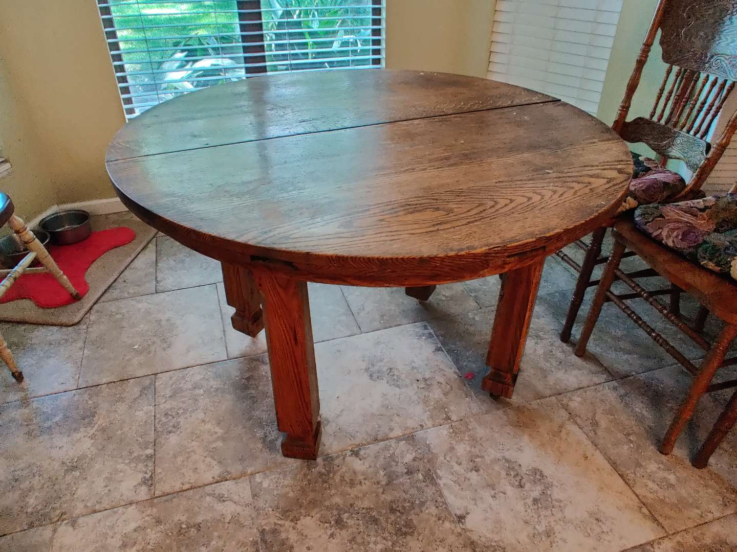 # 143 antique mission oak arts and crafts dining room table 45 inches wide