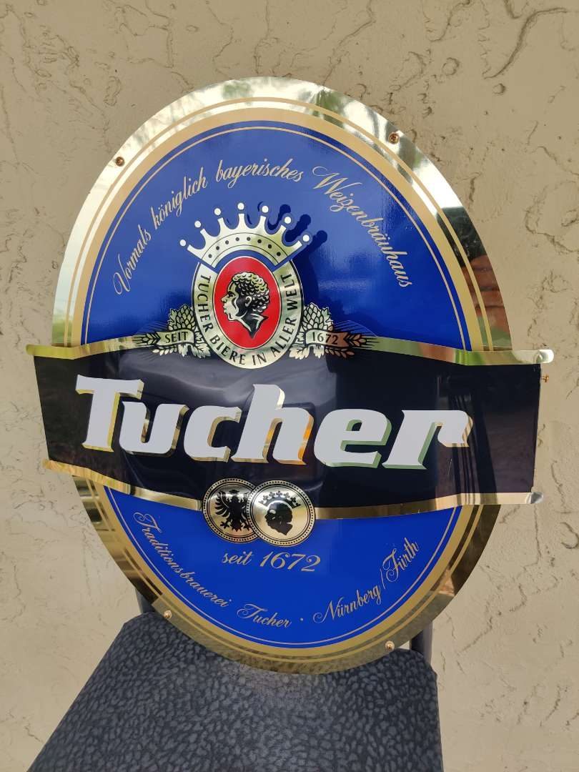 """# 156 Tucher beer advertising sign 24"""" tall 21"""" wide in great condition"""
