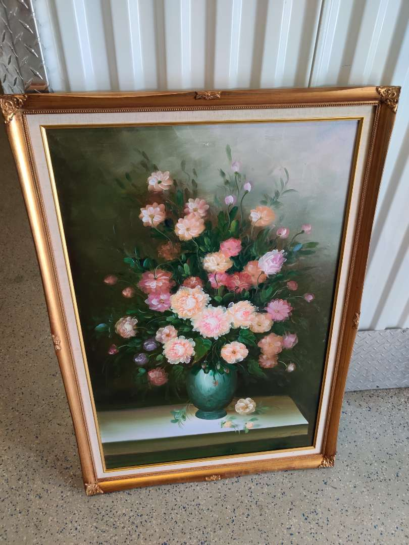 # 164 artist signed floral painting 29 inch by 40 in