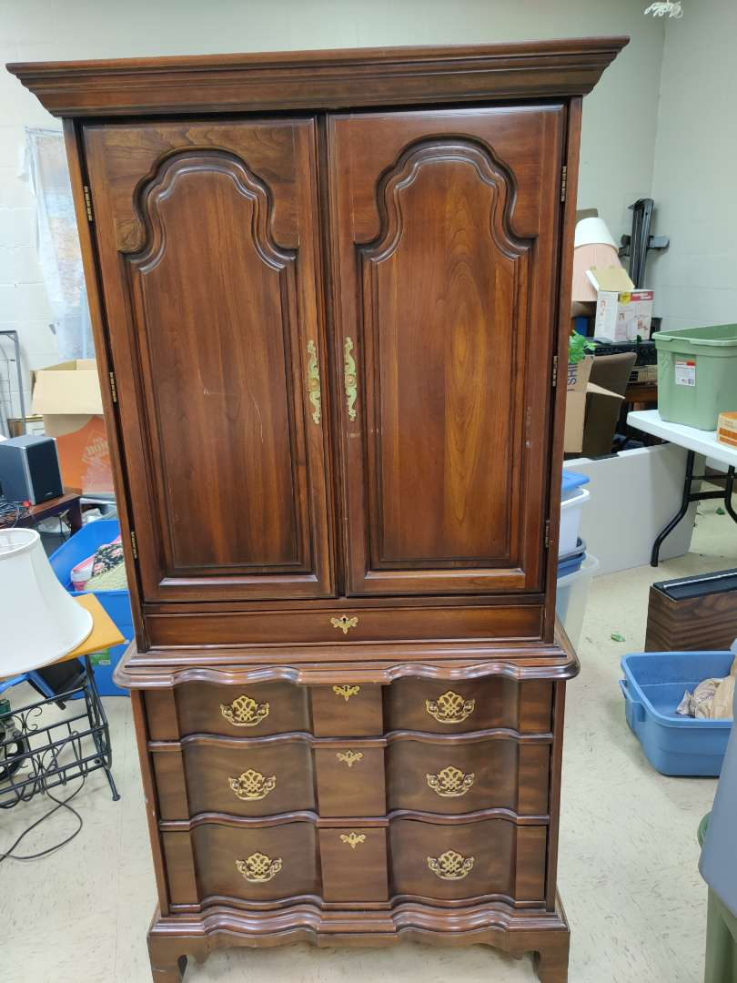 # 166 good quality harden furniture mahogany armoire with a hidden drawer 36 in wide 71.5 in tall very nice