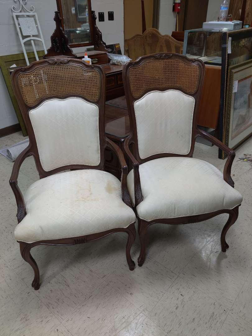# 168 pair of French armchairs could stand to be clean