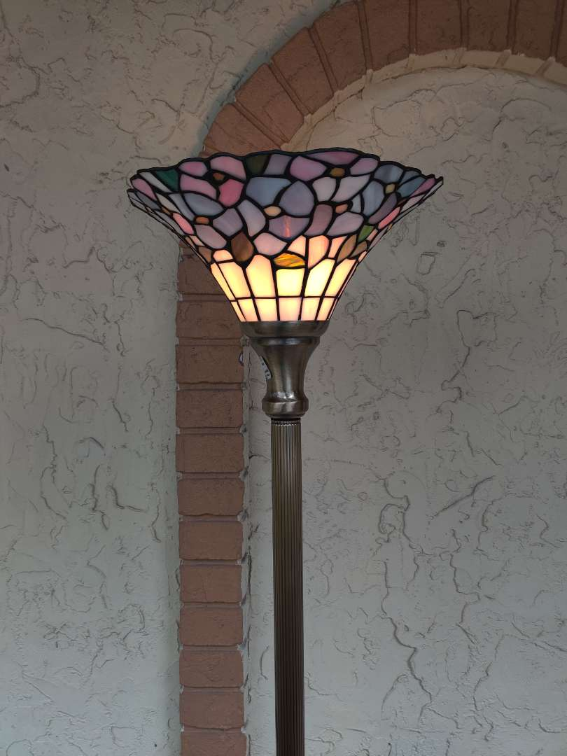 # 174 leaded stained glass floor lamp great condition works